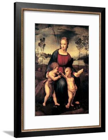Madonna with Child and the Infant John the Baptist (Madonna of Goldfinch)-Sanzio Raffaello-Framed Art Print