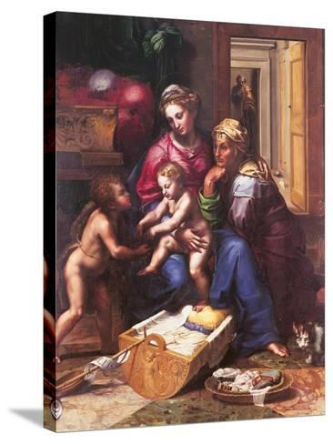 Madonna of the Cat-Giulio Romano-Stretched Canvas Print
