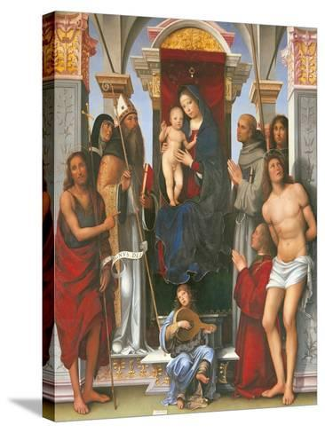 Madonna and Child with Sts John the Baptist- Monica-Stretched Canvas Print