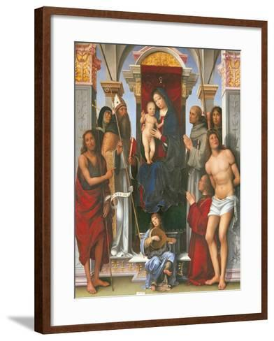 Madonna and Child with Sts John the Baptist- Monica-Framed Art Print