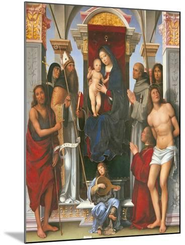 Madonna and Child with Sts John the Baptist- Monica-Mounted Giclee Print