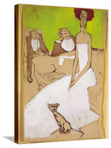 In the Living Room (In Salotto)-Ugo Valeri-Stretched Canvas Print