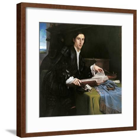 Portrait of a Gentleman in His Study-Lorenzo Lotto-Framed Art Print