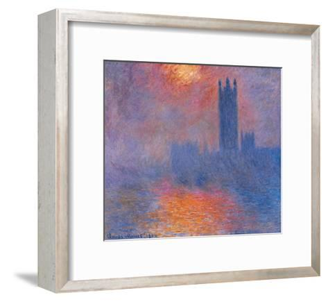 London Houses of Parliament. the Sun Shining Through the Fog-Claude Monet-Framed Art Print