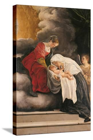 Madonna with Child with St Frances of Rome and Anm Angel-Orazio Gentileschi-Stretched Canvas Print