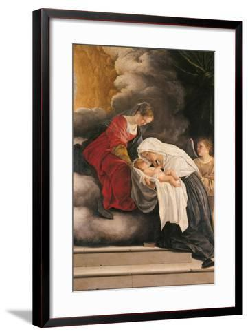 Madonna with Child with St Frances of Rome and Anm Angel-Orazio Gentileschi-Framed Art Print