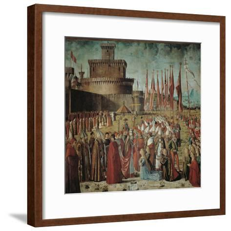 Legend of St Ursula. the Pilgrims Meet the Pope Under the Walls of Rome-Vittore Carpaccio-Framed Art Print