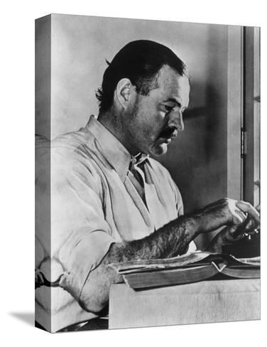 Ernest Hemingway Typewriting--Stretched Canvas Print