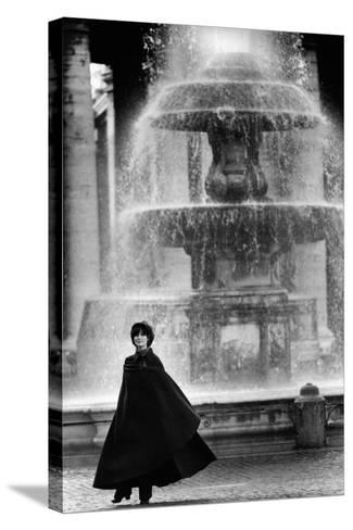 Anna Maria Guarnieri in Front of a Fountain--Stretched Canvas Print