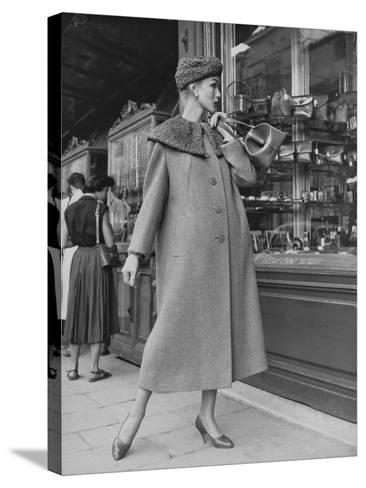 A Model Wearing a Coat with Fur Neck--Stretched Canvas Print