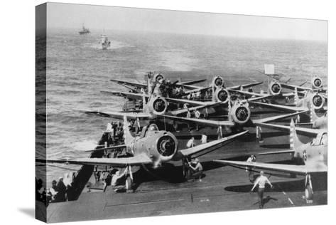 Us Navy Aircraft Carrier before the Attack Agaist Japan--Stretched Canvas Print