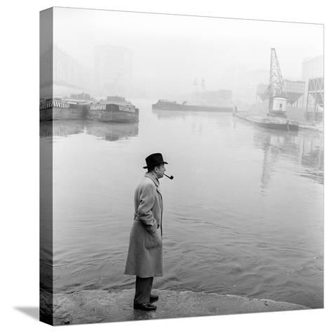 Georges Simenon Smoking a Pipe by the Navigli in Milan--Stretched Canvas Print