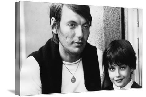 Portrait of Fabrizio De Andre with Son Cristiano--Stretched Canvas Print