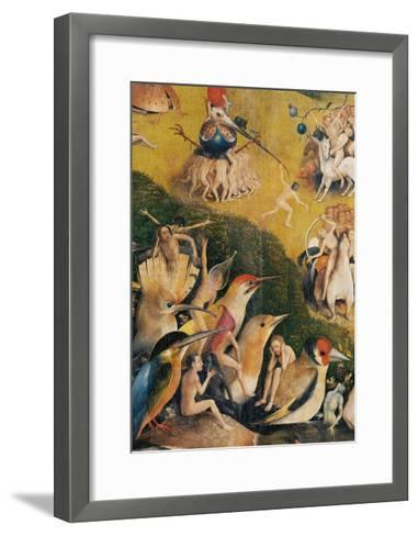 Garden of Earthly Delights,(Martyrs & Angels) by Hieronymus Bosch, c. 1503-04. Prado. Detail.-Hieronymus Bosch-Framed Art Print