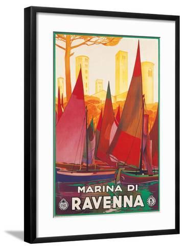 Travel Poster for Marina di Ravenna, Italy--Framed Art Print