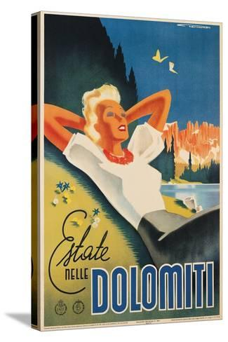 Travel Poster for the Italian Dolomites-Franz Lenhart-Stretched Canvas Print
