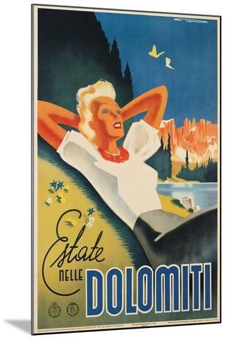 Travel Poster for the Italian Dolomites-Franz Lenhart-Mounted Art Print