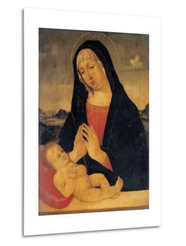 Madonna Adoring the Sleeping,17th c. copy from 15th c. Bellini Giovanni. Brera Art Gallery, Milan-Giovanni Bellini-Metal Print