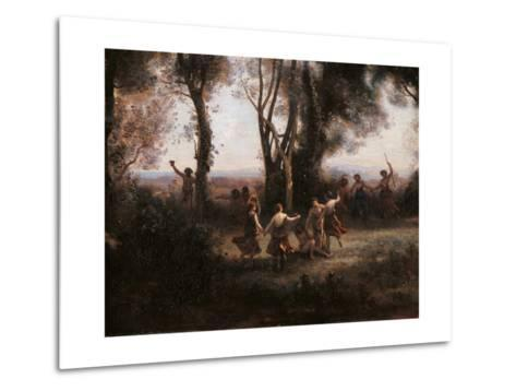 Morning. The Nymphs Dance-Jean-Baptiste-Camille Corot-Metal Print