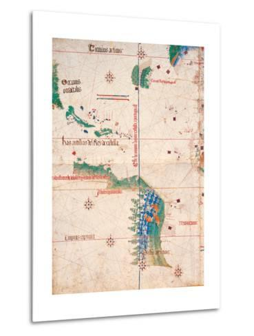 Map of South America and the Coastline of Brazil with parrots, 1502, Estense Library,Modena, Italy--Metal Print