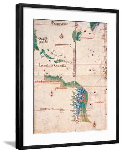 Map of South America and the Coastline of Brazil with parrots, 1502, Estense Library,Modena, Italy--Framed Art Print