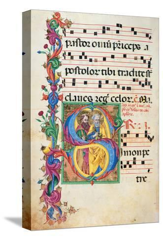 Choral response for religious services, illuminated manuscript, 14th c. Osservanza Basilica, Siena--Stretched Canvas Print