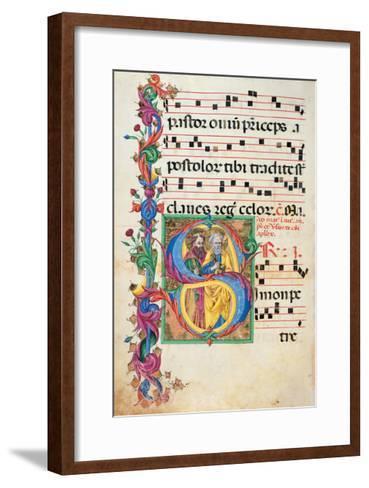 Choral response for religious services, illuminated manuscript, 14th c. Osservanza Basilica, Siena--Framed Art Print