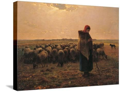 Shepherdess with Her Flock-Jean-Fran?ois Millet-Stretched Canvas Print