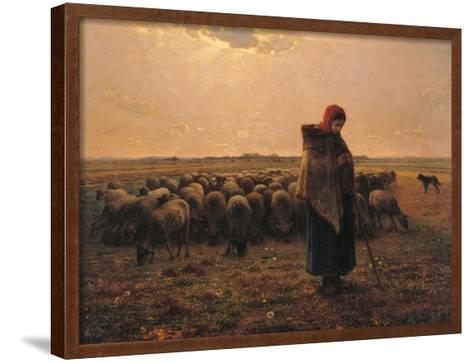 Shepherdess with Her Flock-Jean-Fran?ois Millet-Framed Art Print
