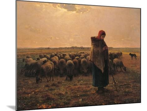 Shepherdess with Her Flock-Jean-Fran?ois Millet-Mounted Art Print