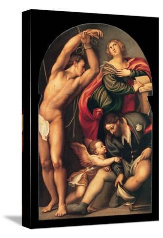 St. Sebastian, St. Roch and St. Catherine, il Pordenone, 1535. Venice, Italy-il Pordenone Sacchis-Stretched Canvas Print