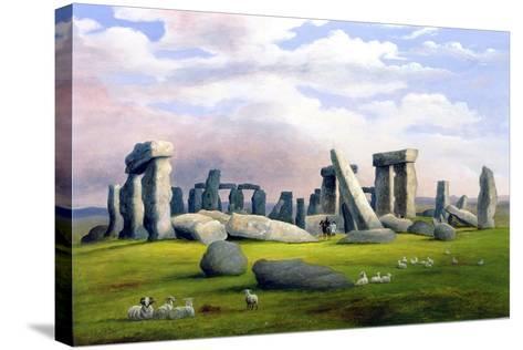 Sheep Grazing, Stonehenge, Wiltshire-Richard Tongue-Stretched Canvas Print