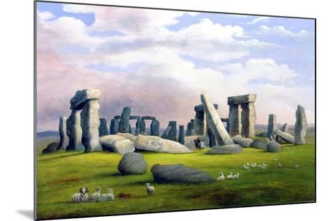 Sheep Grazing, Stonehenge, Wiltshire-Richard Tongue-Mounted Giclee Print