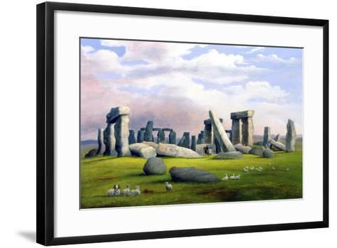 Sheep Grazing, Stonehenge, Wiltshire-Richard Tongue-Framed Art Print