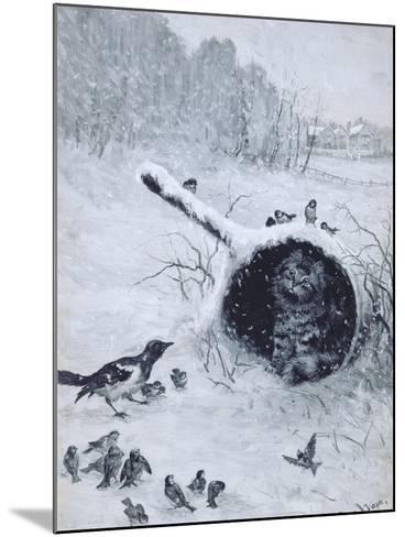 Taking Shelter-Louis Wain-Mounted Giclee Print