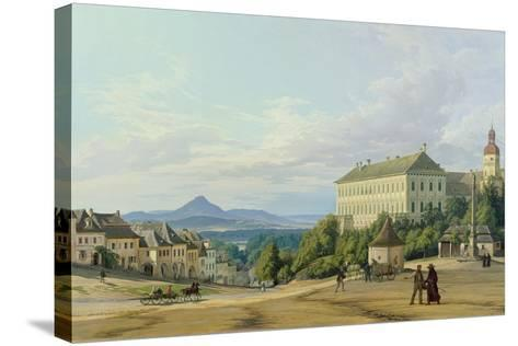 Roudnice Castle from the Town, 1840-Carl Robert Croll-Stretched Canvas Print