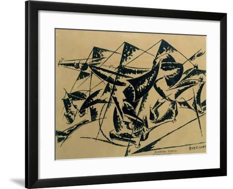 Plastic Dynamism: Horse and Houses, 1914-Umberto Boccioni-Framed Art Print