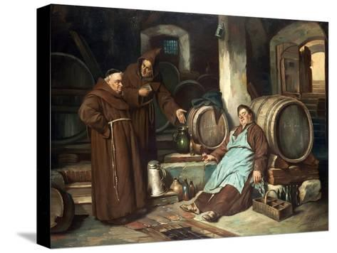 Monks in a Cellar, 1873-J. Haier-Stretched Canvas Print