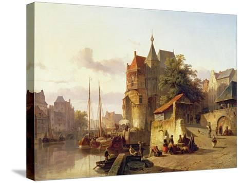 Fortified Buildings on the Banks of a Canal-Cornelius Springer-Stretched Canvas Print