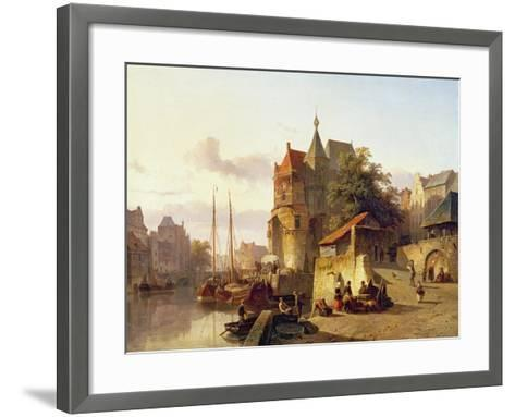 Fortified Buildings on the Banks of a Canal-Cornelius Springer-Framed Art Print