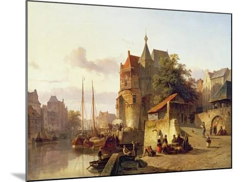 Fortified Buildings on the Banks of a Canal-Cornelius Springer-Mounted Giclee Print