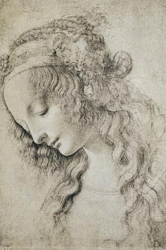 Study for the Head of Mary Magdalene-Leonardo da Vinci-Stretched Canvas Print