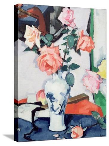 A Vase of Pink Roses-Samuel John Peploe-Stretched Canvas Print