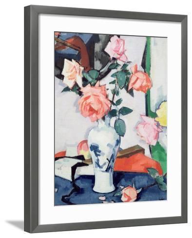 A Vase of Pink Roses-Samuel John Peploe-Framed Art Print