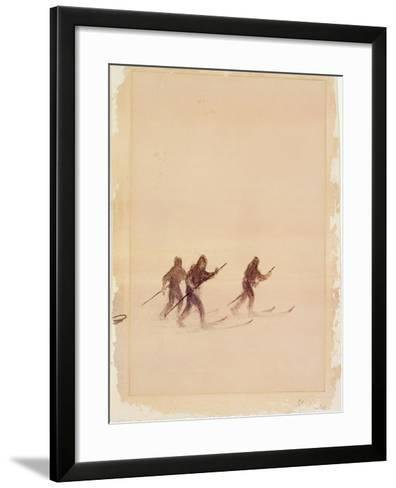 Men on Skis-Edward Adrian Wilson-Framed Art Print