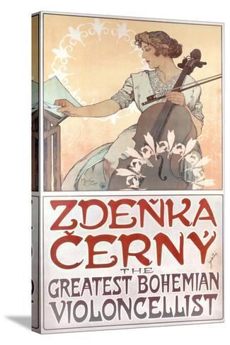Zdenka Cerny, the Greatest Bohemian Violoncellist, 1913-Alphonse Mucha-Stretched Canvas Print