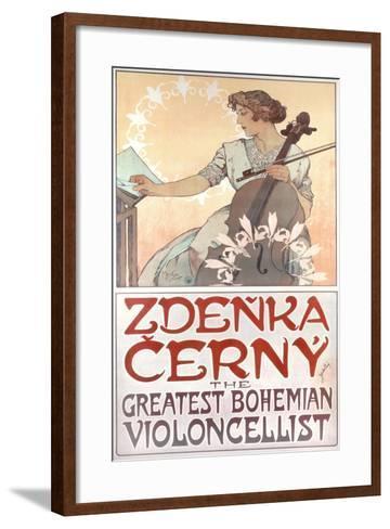 Zdenka Cerny, the Greatest Bohemian Violoncellist, 1913-Alphonse Mucha-Framed Art Print