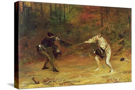 'To the Death: a Sword and Dagger Fight with One Hand Beats Cold Death Aside, and with the Other-John Pettie-Stretched Canvas Print