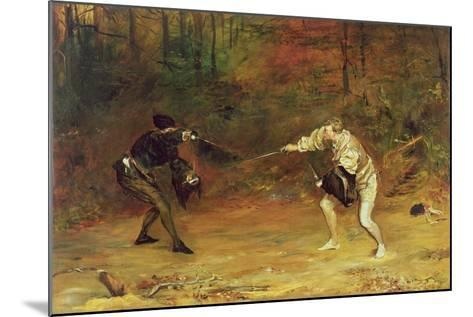 'To the Death: a Sword and Dagger Fight with One Hand Beats Cold Death Aside, and with the Other-John Pettie-Mounted Giclee Print
