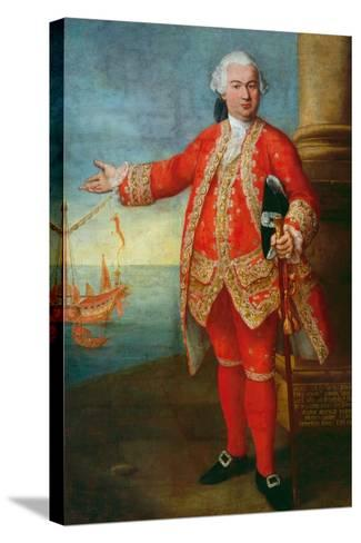 Portrait of Angelo Memmo Dressed as a Sea Captain-Alessandro Longhi-Stretched Canvas Print
